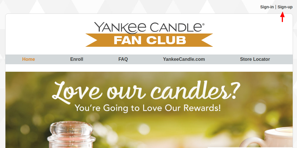 Yankee Candle Fan Club Sign Up