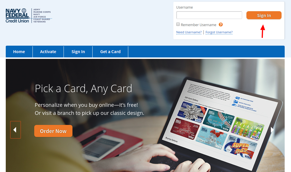 Navy Federal Credit Union Gift Card Login