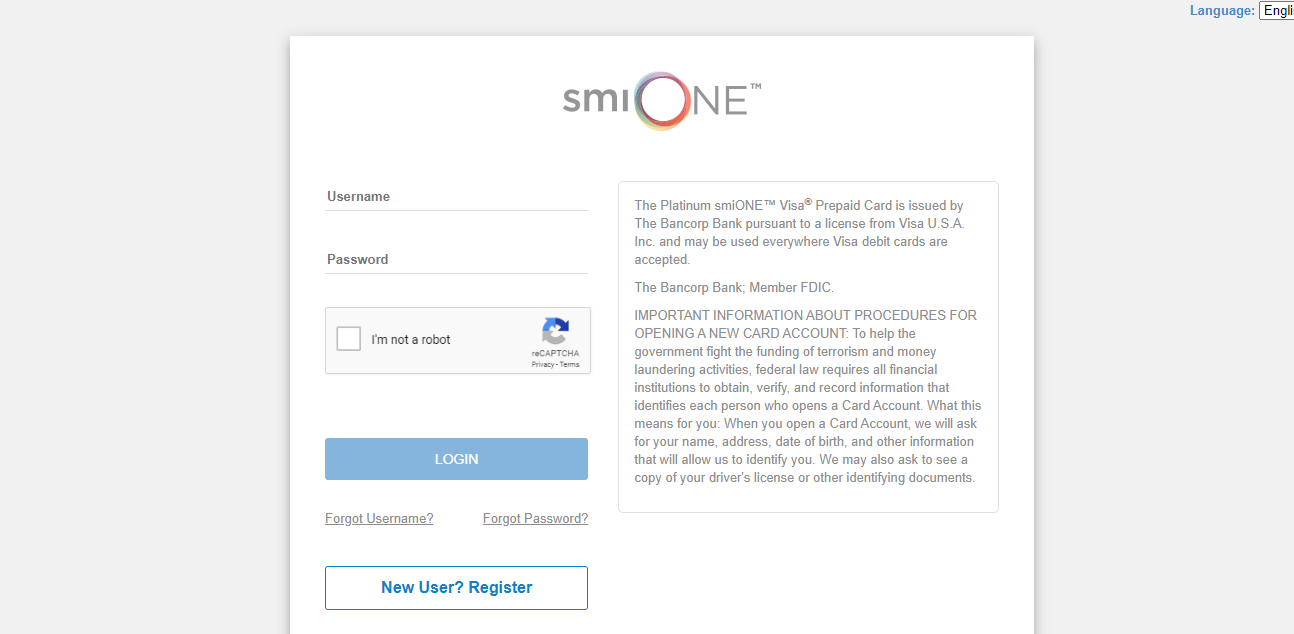 Log into SmiONE Card