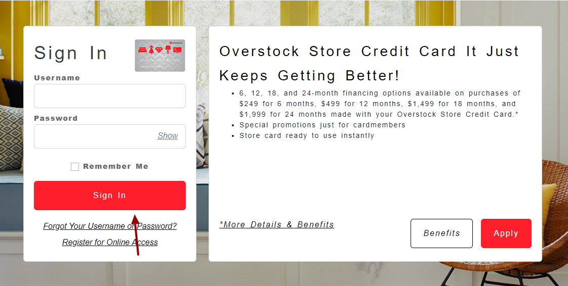 overstock Credit Card Login