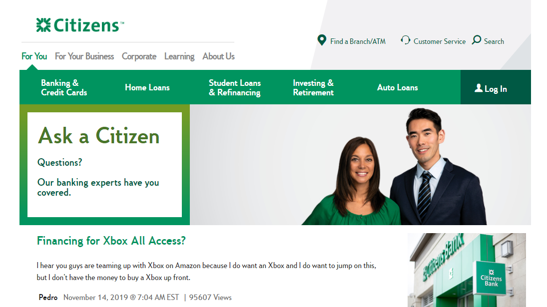 What is Xbox All Access financing Citizens Bank